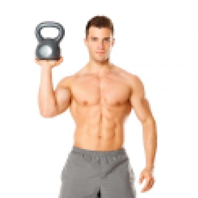 Handsome man working with kettlebell on white background